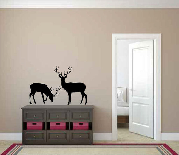 Deer Grazing Silhouette Vinyl Wall Decal Sticker  - 1