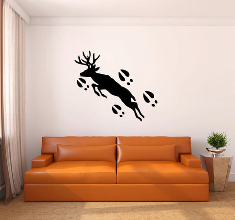 Deer and Hoof Prints Silhouette Vinyl Wall Decal Sticker - Oakwood Decals - 1