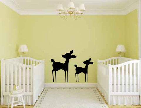 Baby Deer Fawns Silhouette Vinyl Wall Decal Sticker - Wall Decal