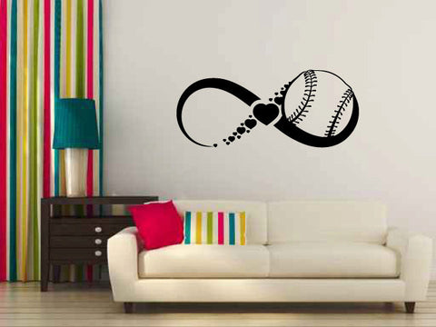 Infinity Sign Symbol with Baseball and Hearts Vinyl Wall Decal Sticker Graphic - Oakwood Decals - 1