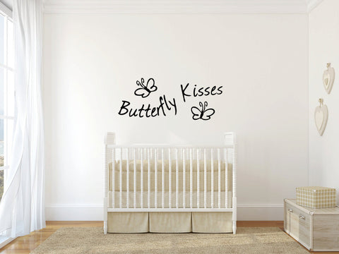 Butterfly Kisses Ladybug Hugs Vinyl Wall Words Decal Sticker - Oakwood Decals - 1