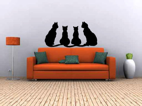Cats Silhouette Vinyl Wall Decal Sticker Graphic - Oakwood Decals - 1