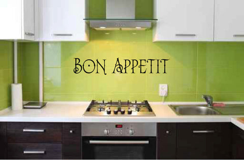 Bon Appetit Kitchen Vinyl Wall Words Decal Sticker Graphic - Wall Decal