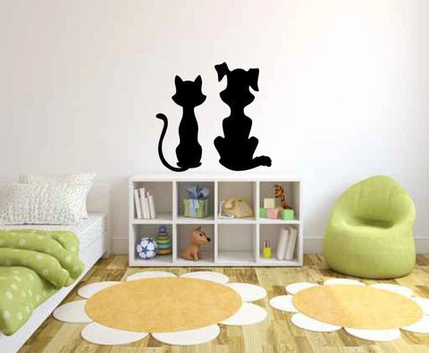 Cat and Dog Vinyl Wall Decal Sticker Graphic - Oakwood Decals - 1