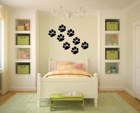 Cat Paw Prints Vinyl Wall Decal Sticker Graphic - Oakwood Decals - 1