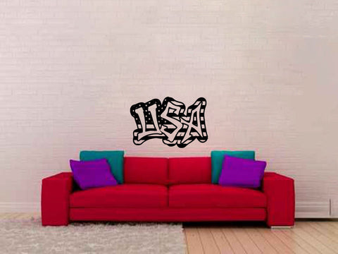 USA Graffiti Stars and Stripes Vinyl Wall Words Decal Sticker - Oakwood Decals - 1