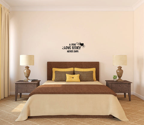 A True Love Story Never Ends Vinyl Wall Words Decal Sticker - Wall Decal