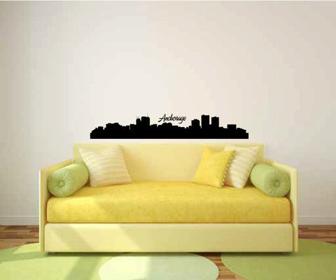 Anchorage Alaska City Skyline Vinyl Wall Decal Sticker Graphic - Wall Decal