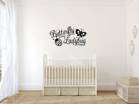 Butterfly Kisses Ladybug Hugs Vinyl Wall Words Decal Sticker  - 1