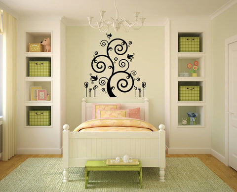 Curly Tree and Bird Vinyl Wall Decal Sticker  - 1