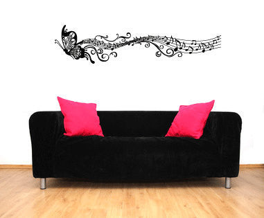 Butterfly and Music Notes Vinyl Wall Decal Sticker Graphic  - 1