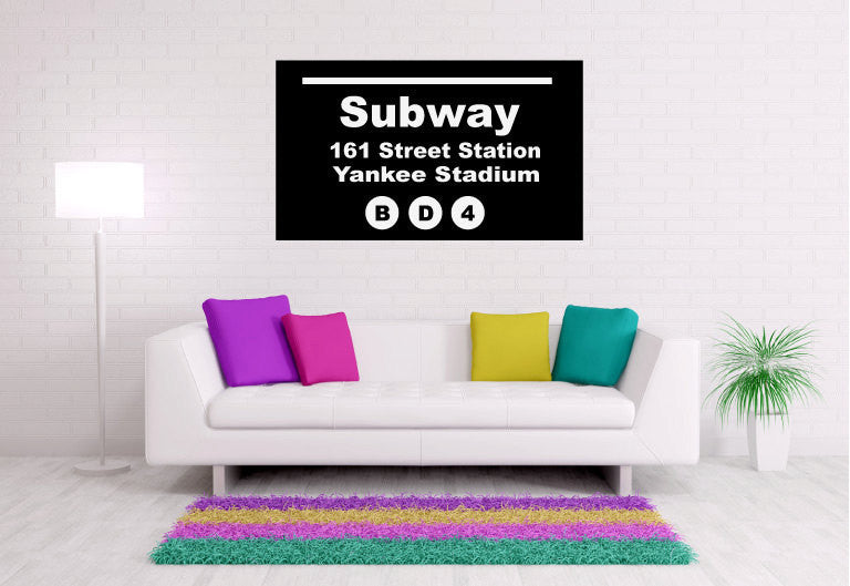 Yankee Stadium New York City Subway Sign Vinyl Wall Words Decal Sticker Graphic  - 1