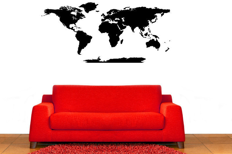 World Map With Antartica Vinyl Wall Decal Sticker Graphic  - 1