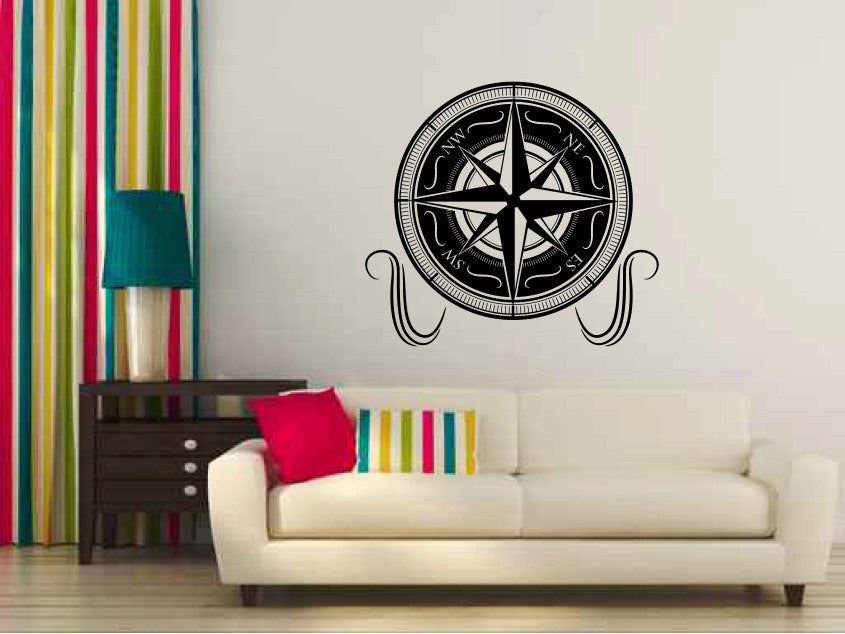 Nautical Compass Vinyl Wall Decal Sticker Graphic  - 1