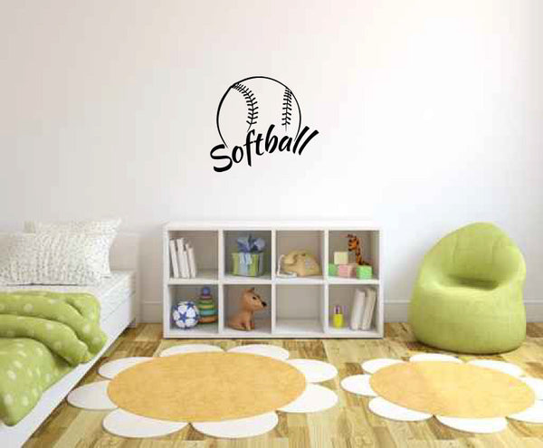Softball Ball Vinyl Wall Decal Sticker Graphic  - 1