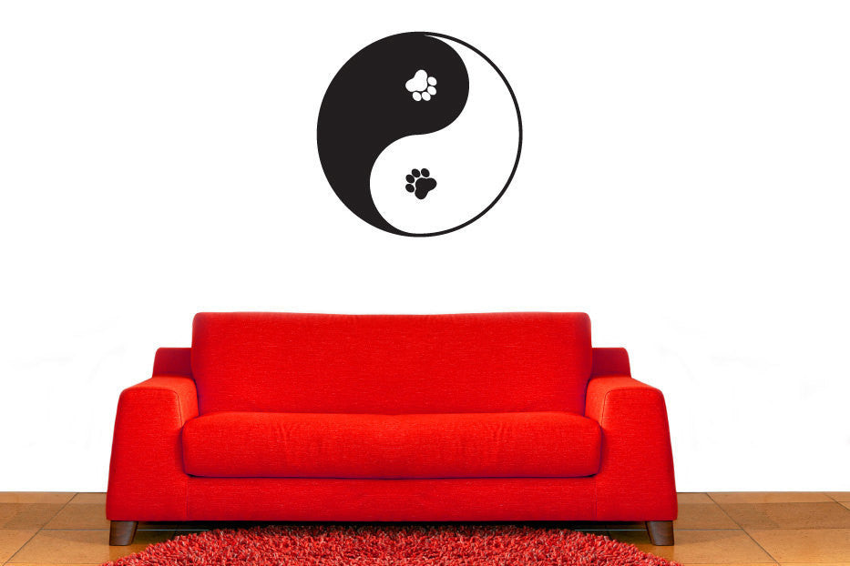 Yin Yang Paw Prints Vinyl Wall Decal Sticker  - 1