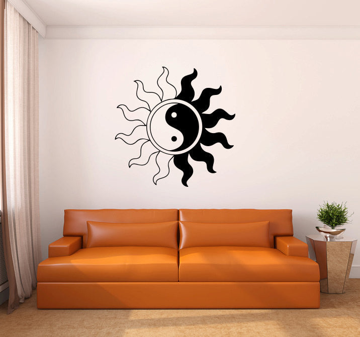 Yin Yang Sun Vinyl Wall Decal Sticker  - 1
