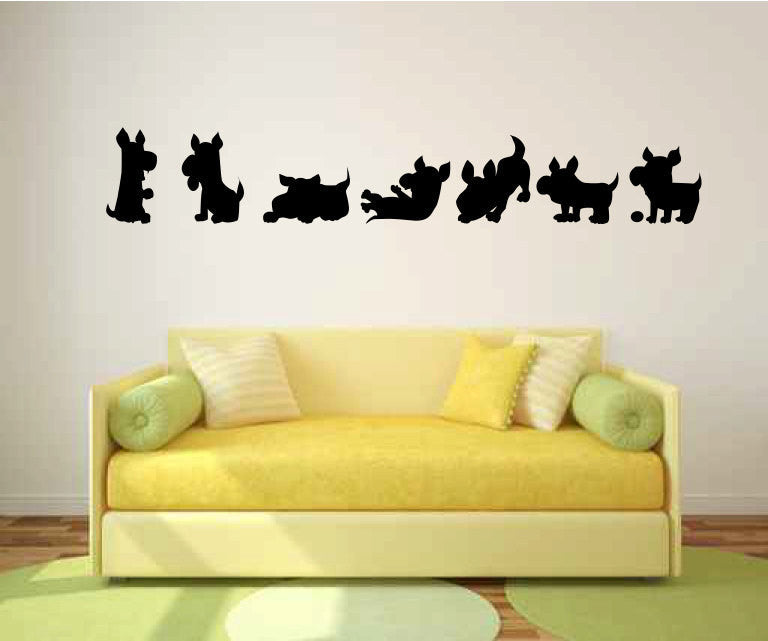 Puppies Playing Vinyl Wall Decal Sticker Graphic  - 1