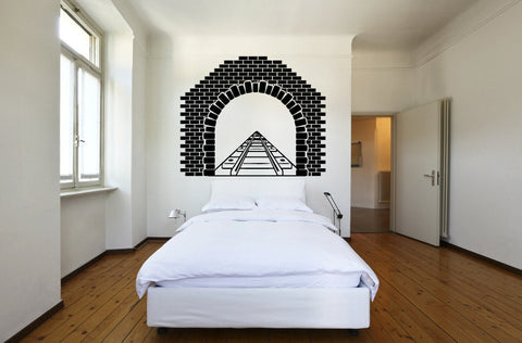 Train Tracks and Tunnel Vinyl Wall Decal Sticker Graphic  - 1