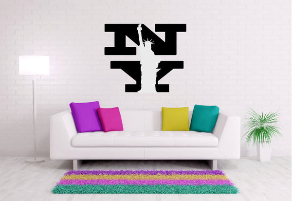 New York with Statue of Liberty Vinyl Wall Words Decal Sticker Graphic  - 1