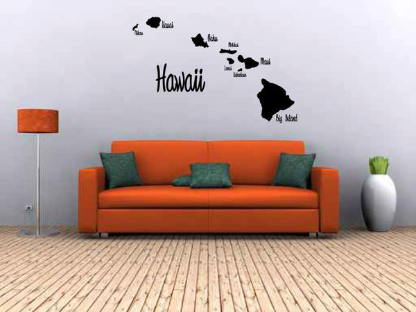 Hawaii Hawaiian Islands Map Vinyl Wall Decal Sticker Graphic  - 1