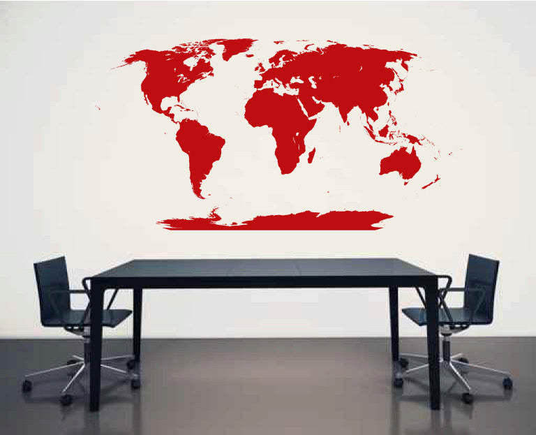 Huge World Map Vinyl Wall Decal Sticker Graphic  - 1