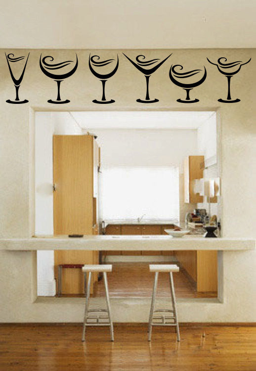 Wine Glasses Vinyl Wall Decal Sticker Graphic  - 1