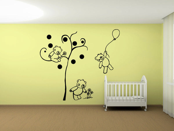 Teddy Bear Family Vinyl Wall Decal Sticker Graphic  - 1