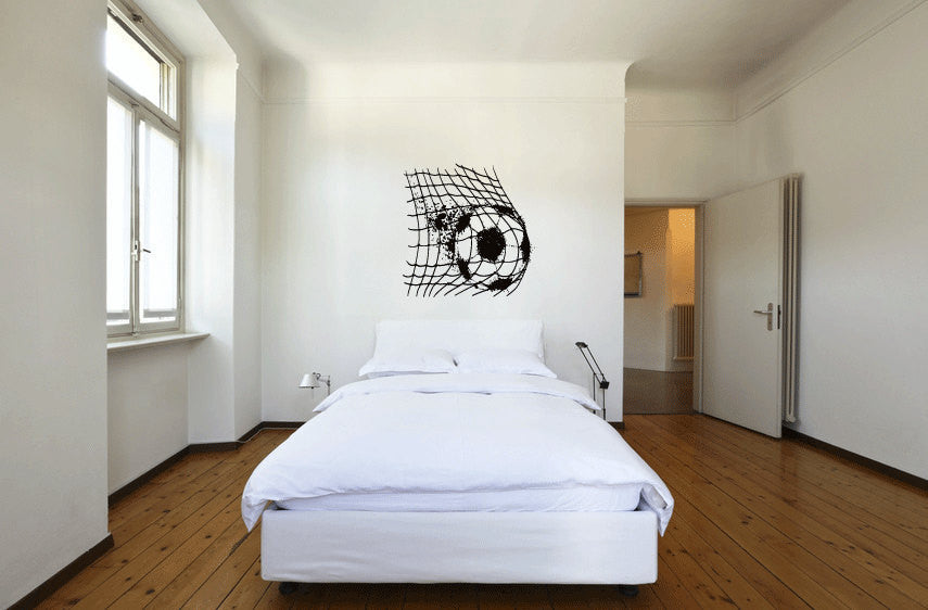 Soccerball and Net Vinyl Wall Decal Sticker Graphic  - 1