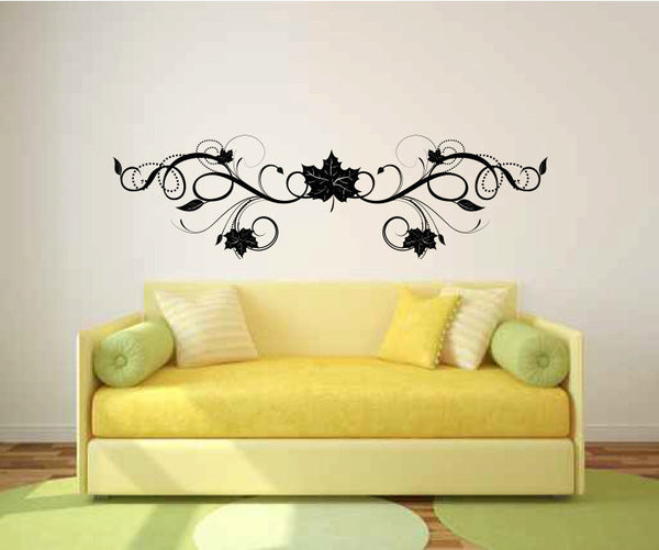 Floral Leaf Scroll Vinyl Wall Decal Sticker Graphic  - 1