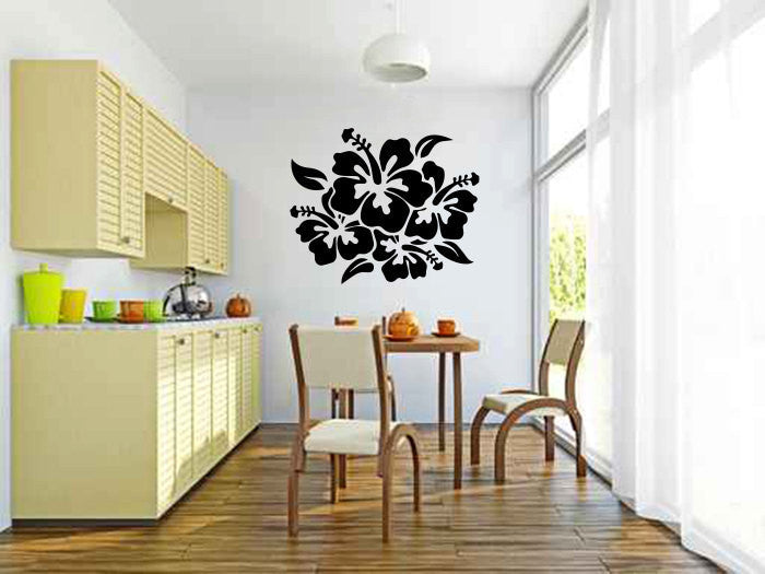 Large Hibiscus Flowers Vinyl Wall Decal Sticker Graphic  - 1