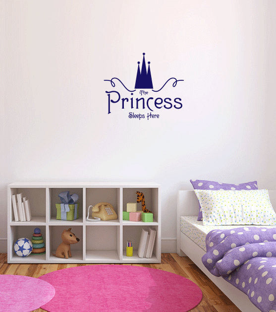 The Princess Sleeps Here Vinyl Wall Words Decal Sticker Graphic  - 1