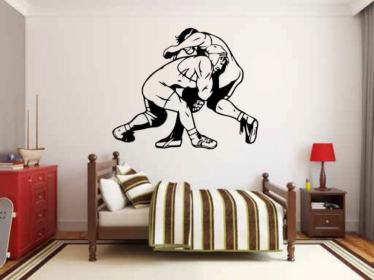 Wrestlers Vinyl Wall Decal Sticker Graphic  - 1