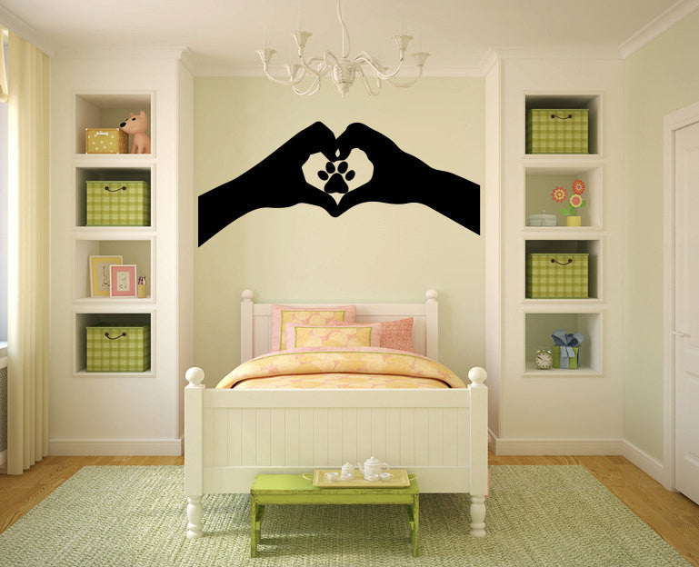 Heart Hands With Pawprint Vinyl Wall Decal Sticker Graphic  - 1