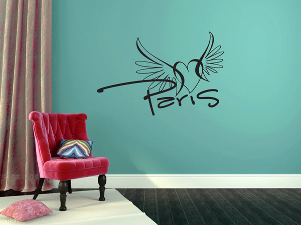 Paris and Lips Vinyl Wall Decal Sticker  - 1