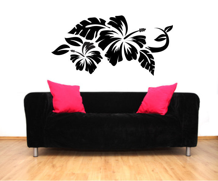Tropical Hibiscus Flowers Vinyl Wall Decal Sticker Graphic  - 1