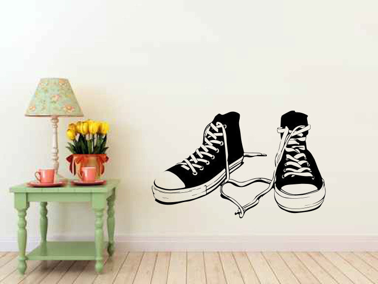 Sneakers Shoes Gumshoes Vinyl Wall Decal Sticker Graphic  - 1