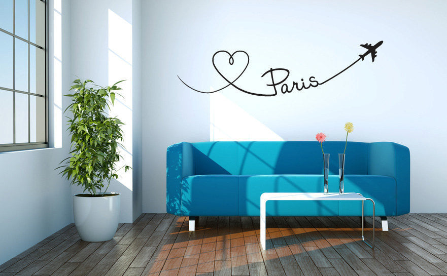 Paris Heart Vinyl Wall Words Decal Sticker  - 1