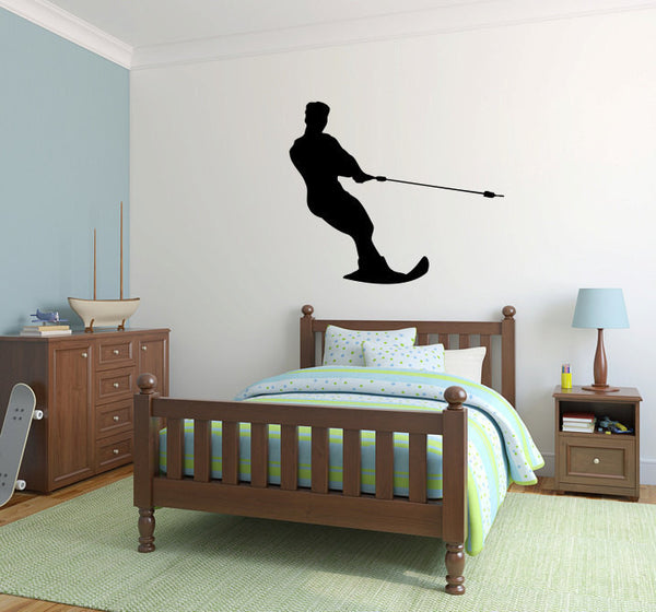 Waterski Silhouette Vinyl Wall Decal Sticker Graphic  - 1