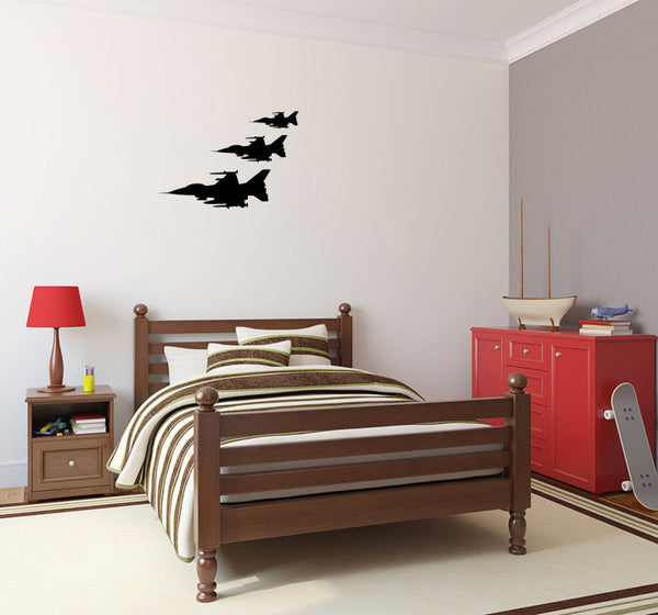 Fighter Jets Military Airplanes Set of 3 Vinyl Wall Decal Sticker Graphic  - 1