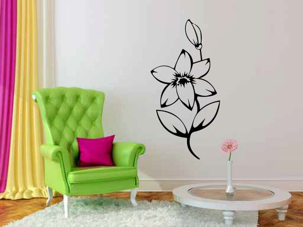 Flower and Bud Vinyl Wall Decal Sticker Graphic  - 1