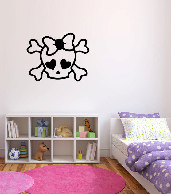 Girly Skull Vinyl Wall Decal Sticker Graphic  - 1