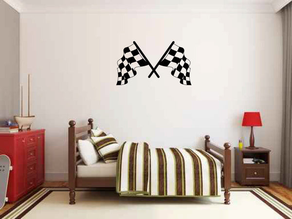 Racing Checkered Flags Vinyl Wall Decal Sticker Graphic  - 1