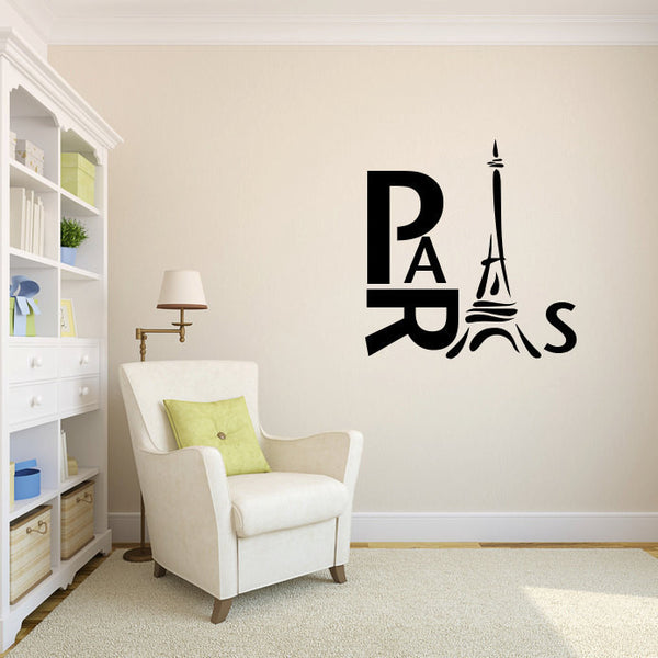 Paris and Eiffel Tower Vinyl Wall Decal Sticker  - 1