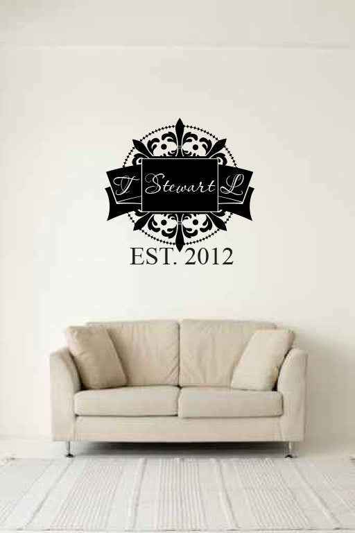 Monogram Custom Initials and Name Vinyl Wall Words Decal Sticker  - 1