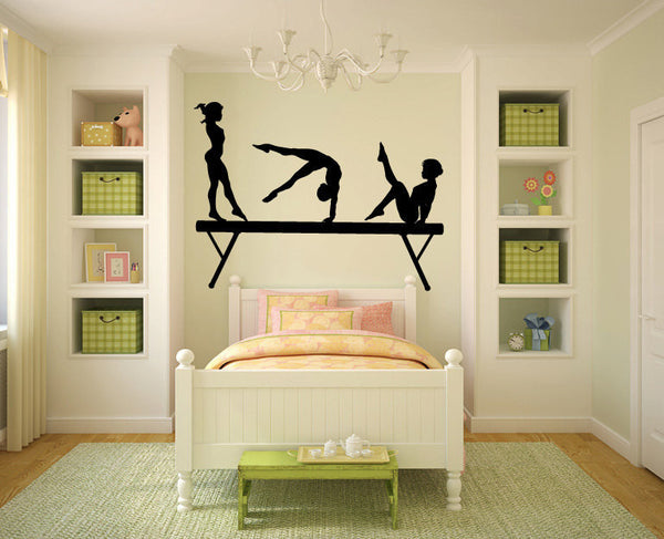 Gymnasts and Balance Beam Vinyl Wall Decal Sticker Graphic  - 1