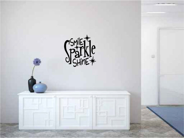 Smile Sparkle Shine Vinyl Wall Words Decal Sticker Graphic  - 1
