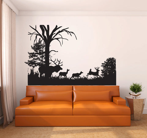 Deer and Moose Woods Vinyl Wall Decal Sticker Graphic  - 1