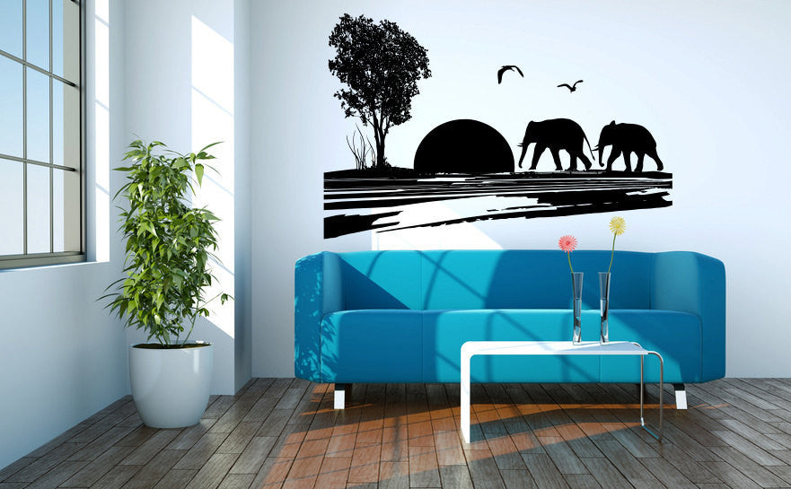 Safari Scene Elephants Vinyl Wall Decal Sticker Graphic  - 1