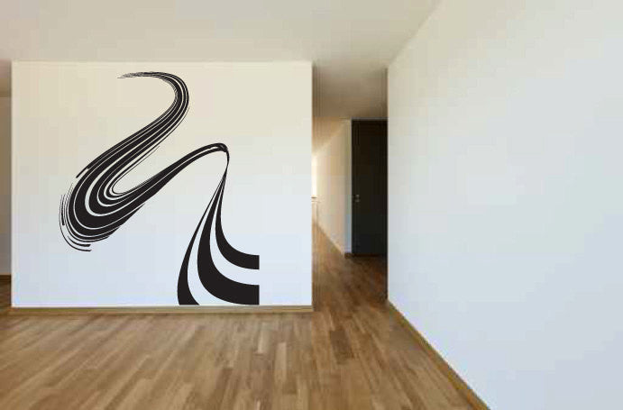 Wave Swirl Lines Vinyl Wall Decal Sticker  - 1